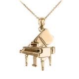 Gold Grand Piano Pendant Necklace