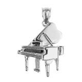 White Gold Grand Piano Pendant Necklace