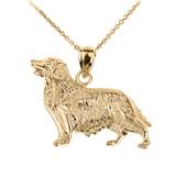 Yellow Gold Golden Retriever Dog Pendant Necklace