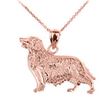 Rose Gold Golden Retriever Dog Pendant Necklace