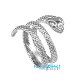 Solid White Gold Rolling Snake Ring