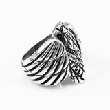 Oxidized Sterling Silver Men's Eagle Ring