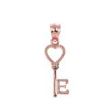 Rose Gold Heart Key Pendant Necklace
