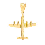 Yellow Gold 3D Airplane Pendant Necklace