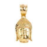 Buddha Head Pendant Necklace in Yellow Gold