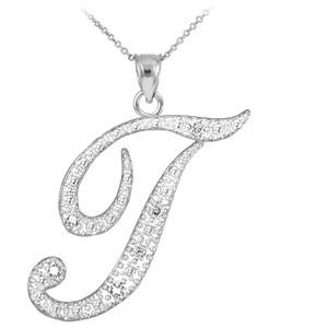 "14k White Gold Letter Script ""T"" Diamond Initial Pendant Necklace"