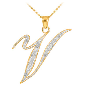 "14k Gold Letter Script ""V"" Diamond Initial Pendant Necklace"