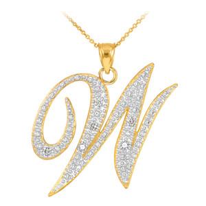 """14k Gold Letter Script """"W"""" Diamond Initial Pendant Necklace"""