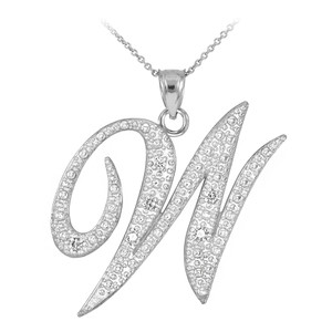 "14k White Gold Letter Script ""W"" Diamond Initial Pendant Necklace"