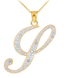 """14k Gold Letter Script """"Y"""" Diamond Initial Pendant Necklace"""