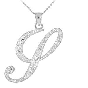 """14k White Gold Letter Script """"Y"""" Diamond Initial Pendant Necklace"""