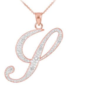 """14k Rose Gold Letter Script """"Y"""" Diamond Initial Pendant Necklace"""