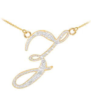 "14k Gold Letter Script ""Z"" Diamond Initial Necklace"