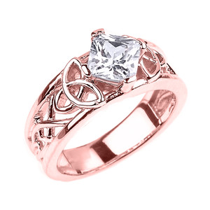 Rose Gold Celtic Knot Princess Cut CZ Engagement Ring