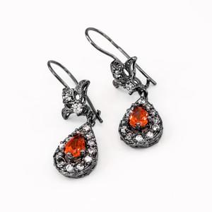 Black Silver Teardrop Garnet CZ Earrings