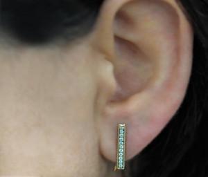 14k White Gold Diamond Bar Ear Cuffs