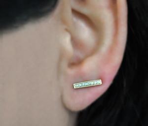 14k Rose Gold Diamond Bar Ear Cuffs