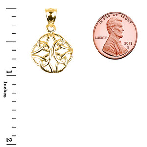 Yellow Gold Celtic Trinity Knot Charm Pendant Necklace
