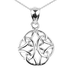 Sterling Silver Celtic Trinity Knot Charm Pendant Necklace