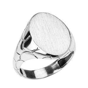 White Gold Nugget Band Oval Engravable Signet Ring