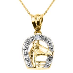 Yellow Gold Diamond Horseshoe with Horse Head Pendant Necklace