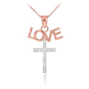 14K Two Tone Rose Gold LOVE Cross Diamond Pendant Necklace