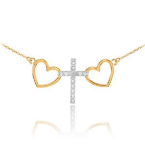 14 K Two Tone Gold Heart Cross Diamond Necklace