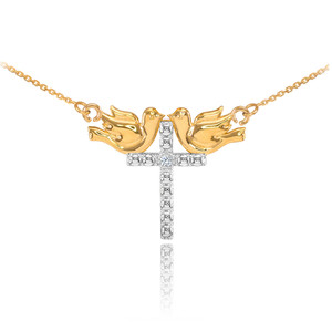 14K Two Tone Gold Pigeon Cross Diamond Necklace
