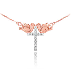 14K Two Tone Rose Gold Gold Pigeon Cross Diamond Necklace