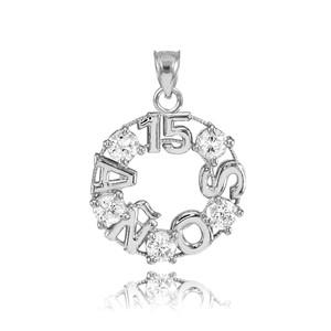 14K White Gold 15 Años CZ Pendant Necklace