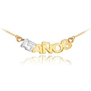 14K Two Tone Gold 15 Años Necklace