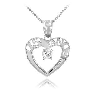 14K White Gold 15 Años Heart CZ Pendant Necklace