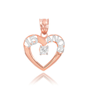 14K Two Tone Rose Gold 15 Años Heart CZ Pendant Necklace