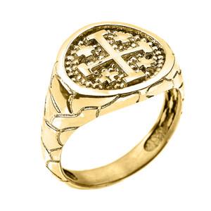 Yellow Gold Jerusalem Crusaders Cross Men's Ring