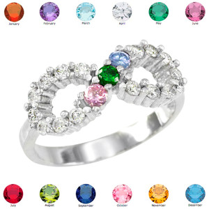 Silver Infinity CZ Ring with Interchangable Birthstones