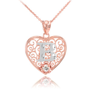 """Two Tone Rose Gold Filigree Heart """"B"""" Initial CZ Pendant Necklace"""