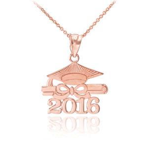 "Rose Gold ""CLASS OF 2016"" Graduation Pendant Necklace"