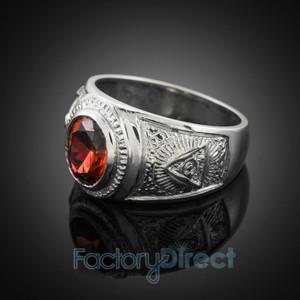 Silver Masonic Men's Birthstone CZ Ring
