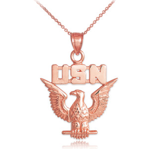 Rose Gold US Navy Pendant Necklace