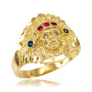 Gold Indian Chief CZ Head Ring