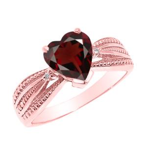 Beautiful Rose Gold Garnet and Diamond Proposal Ring