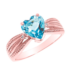 Beautiful Rose Gold Blue Topaz and Diamond Proposal Ring