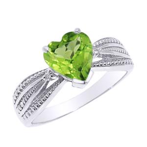 Beautiful White Gold Peridot and Diamond Proposal Ring