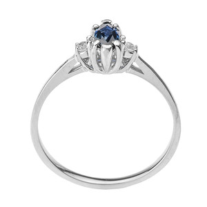 Beautiful White Gold Diamond and Sapphire Proposal and Birthstone Ring