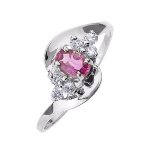 Beautiful White Gold Diamond and Pink Sapphire Proposal and Birthstone Ring