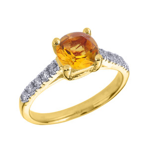 Yellow Gold Diamond and Citrine Solitaire Engagement Ring
