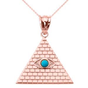 Rose Gold Egyptian Pyramid with Turquoise Evil Eye Pendant