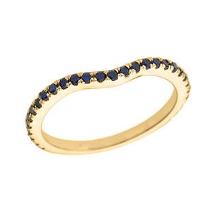 14k Yellow Gold Chevron Stackable Blue CZ Wedding Band