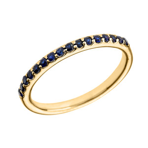 14k Yellow Gold Blue CZ Stackable Wedding Band