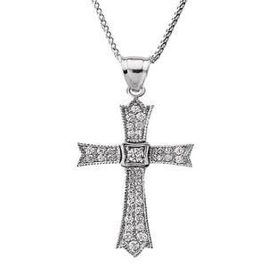 14k White Gold Diamond Cross Pendant Necklace
